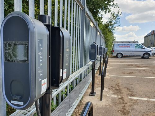 A photo of a recent workplace EV charging project