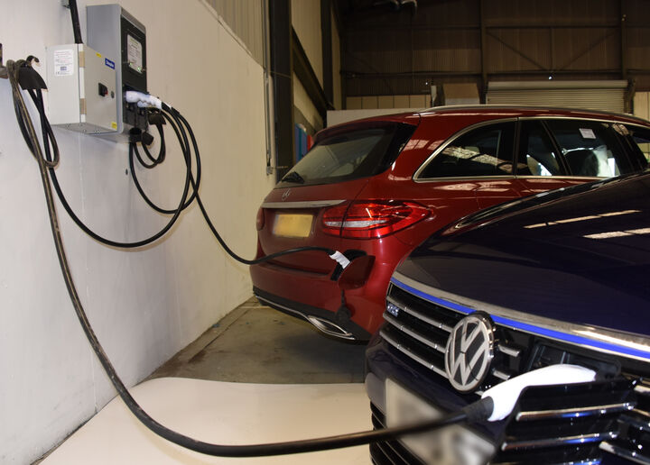 A photo of our EV charger installation at the customer's premises