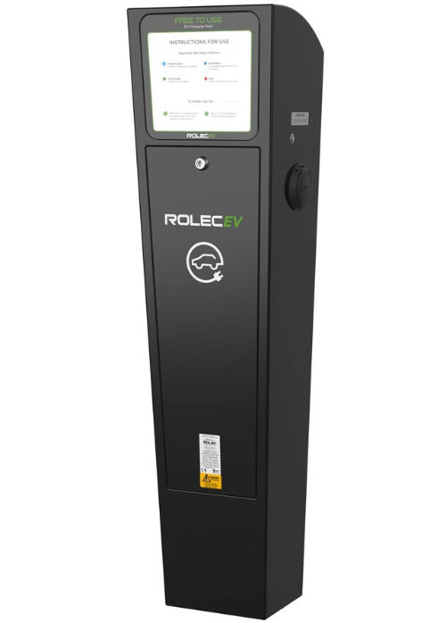A Rolec destination EV charging pedestal