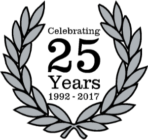 Celebrating 25 years in business logo