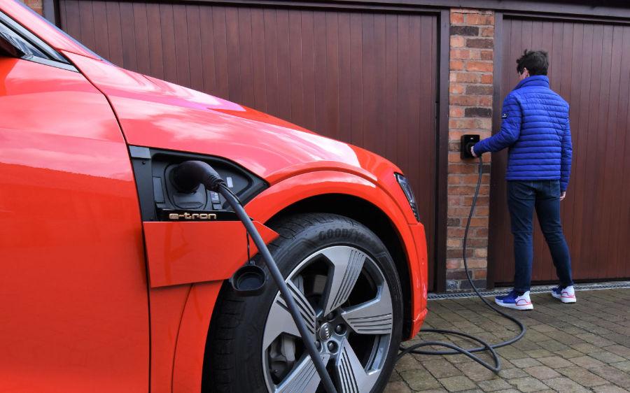 A photo of a home EV charging unit